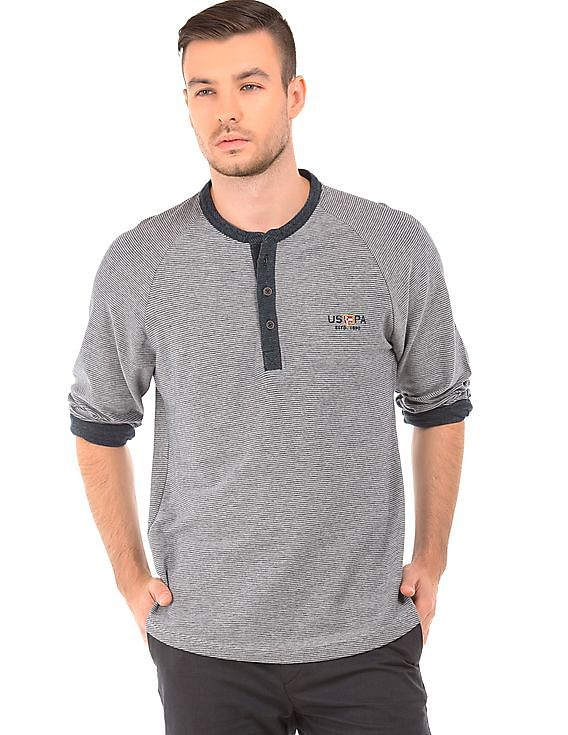 Up to 50% off on US Polo Assn - Men & Women By Nnnow | U.S. POLO ASSN. DENIM CO. Muscle Fit Striped Henley T-Shirt @ Rs.1,425
