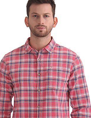 Flying Machine Barrel Cuff Check Shirt