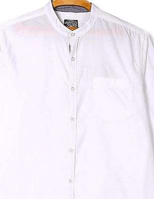 Flying Machine Mandarin Collar Solid Shirt