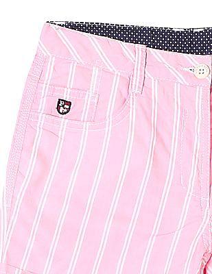 U.S. Polo Assn. Kids Girls Striped Woven Shorts