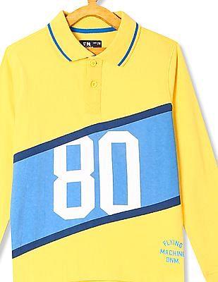 FM Boys Boys Long Sleeve Printed Polo Shirt