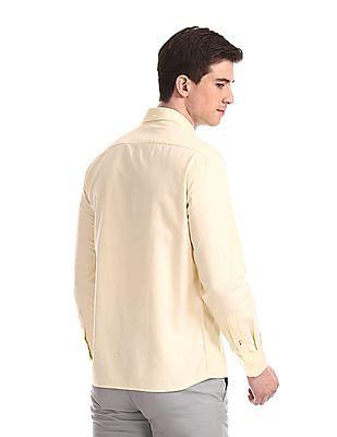 Arrow Sports Yellow Slim Fit Button Down Shirt