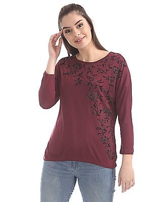Cherokee Round Neck Embroidered Top
