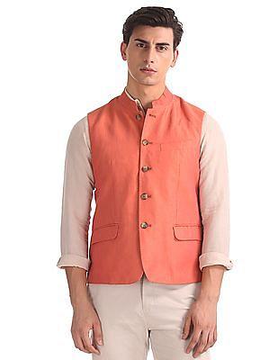 Arrow Regular Fit Linen Nehru Jacket