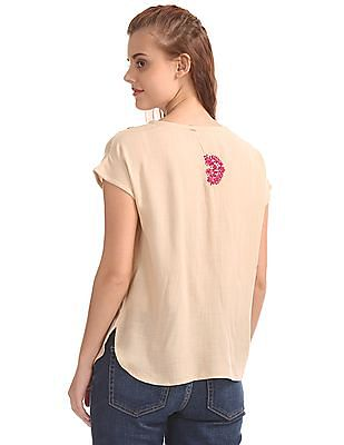 Bronz Button Placket Embroidered Top