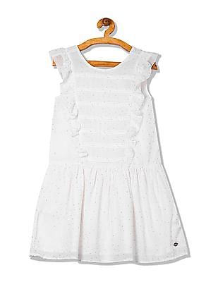 U.S. Polo Assn. Kids Girls Ruffle Trim Foil Print Dress