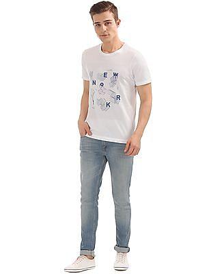 Arrow Newyork Printed Front Round Neck T-Shirt