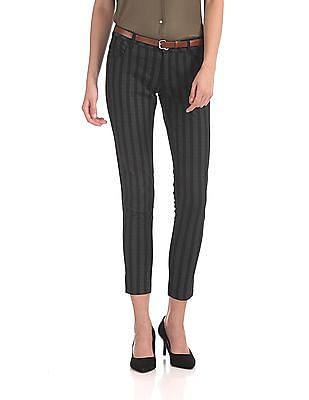 Cherokee Vertical Stripe Belted Trousers
