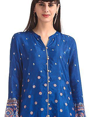 Anahi Blue Mandarin Collar Printed Kurta