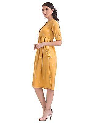 Bronz Mandarin Collar Printed Fit And Flare Dress