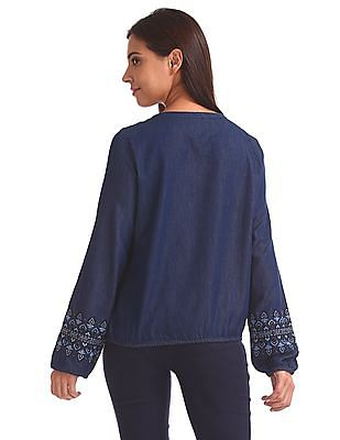 Aeropostale Chambray Embroidered Blouson Top