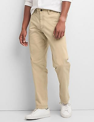 GAP Washwell Vintage Wash Khakis In Straight Fit With GapFlex
