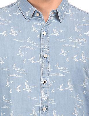 Cherokee Bird Print Denim Shirt