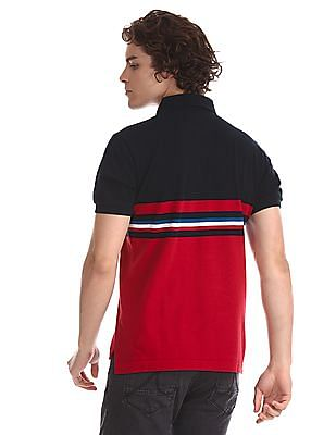 U.S. Polo Assn. Navy And Red Colour Block Polo Shirt