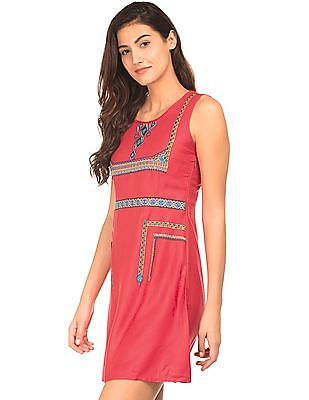 Bronz Embroidered Front Shift Dress