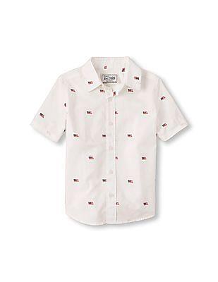 The Children's Place Boys Short Sleeve Flag Print Cotton Poplin Button-Down Shirt