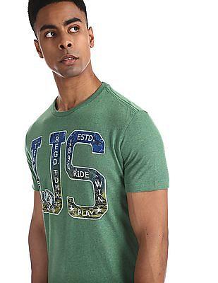 U.S. Polo Assn. Denim Co. Green Printed Front Melange T-Shirt