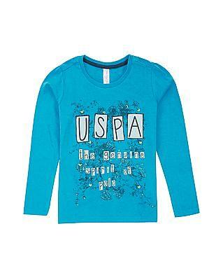 U.S. Polo Assn. Kids Girls Printed Front Long Sleeve T-Shirt
