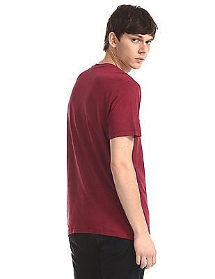 Aeropostale Red Brand Applique Slub Cotton T-Shirt
