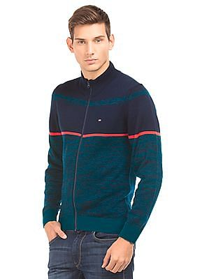 Arrow Sports Regular Fit Colour Block Sweater
