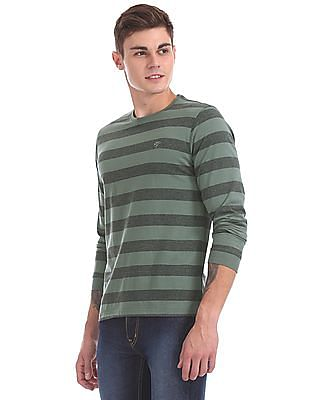 Ruggers Olive And Grey Striped Crew Neck T-Shirt