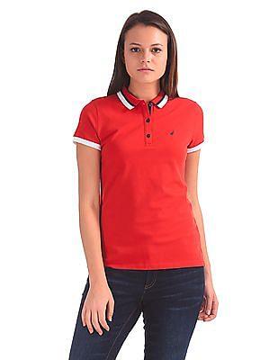 Nautica Contrast Collar Solid Polo Shirt