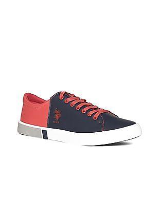 U.S. Polo Assn. Blue Colour Block Mid Top Sneakers