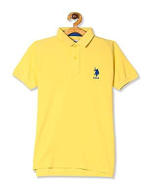 U.S. Polo Assn. Kids Yellow Boys Solid Pique Polo Shirt