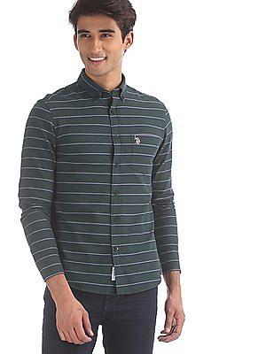 U.S. Polo Assn. Green Striped Oxford Shirt
