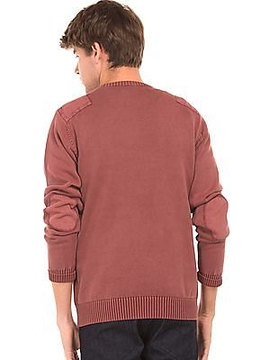 Flying Machine Washed Patched Sweater