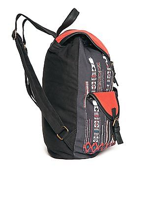 Bronz Contrast Print Canvas Backpack