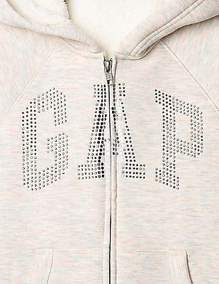 GAP Girls Cozy Embellished Logo Hoodie