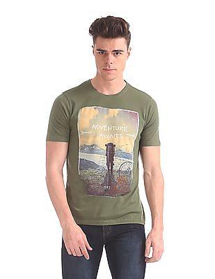 Cherokee Ribbed Neck Graphic T-Shirt