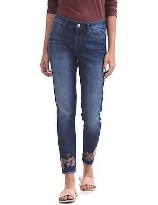 Aeropostale Mid Rise Embroidered Ankle Jeans