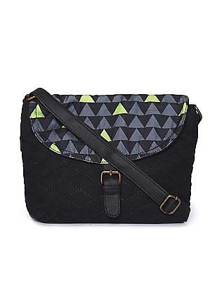 SUGR Black Quilted Front Sling Bag