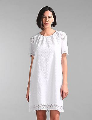 GAP Short Sleeve Eyelet Shift Dress