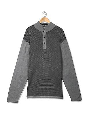 Nautica Houndstooth Button Mock Neck Sweater