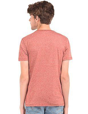Flying Machine Printed Pocket Heathered T-Shirt