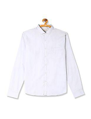 Excalibur Blue Cutaway Collar Patterned Shirt