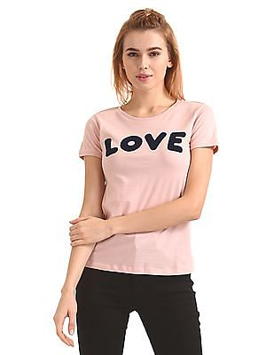 Flying Machine Women Round Neck Appliqued T-Shirt