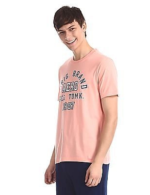 Aeropostale Pink Embroidered Front Crew Neck T-Shirt