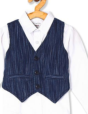 Donuts White Boys Solid Shirt With Waistcoat
