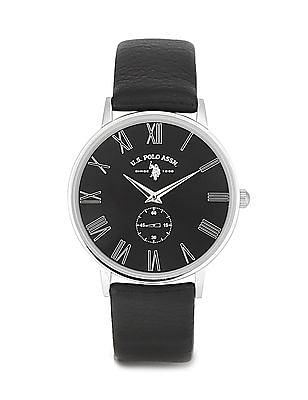 U.S. Polo Assn. Waterproof Leather Strap Watch