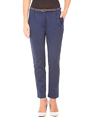Cherokee Pleated Front Belted Trousers