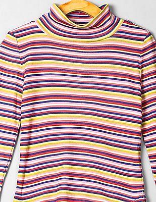 GAP Girls Purple Turtleneck Multi Stripe T-Shirt