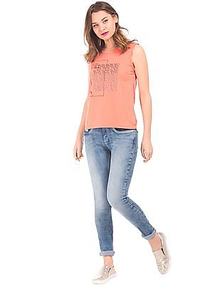 Elle Stone Wash Skinny Fit Jeans