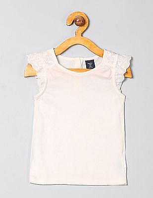 GAP Baby Embroidered Flutter Sleeve Top