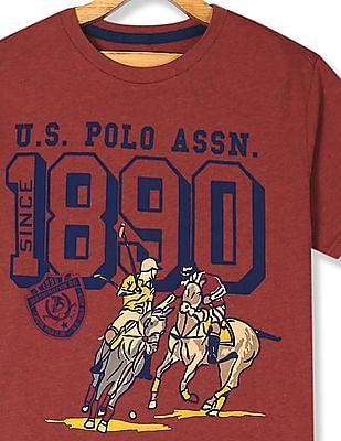 U.S. Polo Assn. Kids Orange Boys Crew Neck Graphic Print T-Shirt