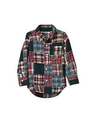 GAP Boys Multi Colour Patchwork Button Down Twill Shirt