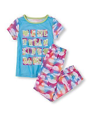 The Children's Place Girls Short Sleeve 'Live Dream Sing Dance' Cloud Top & Pants PJ Set